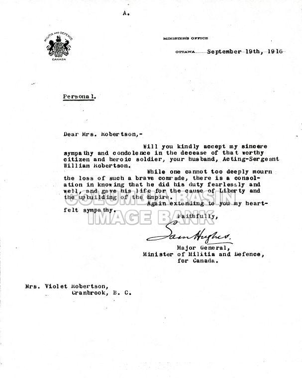 Letter Death Announcement Of William Robertson To His